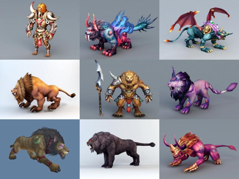 12 Animal Lion Game Character 3D Models – Week 2020-43