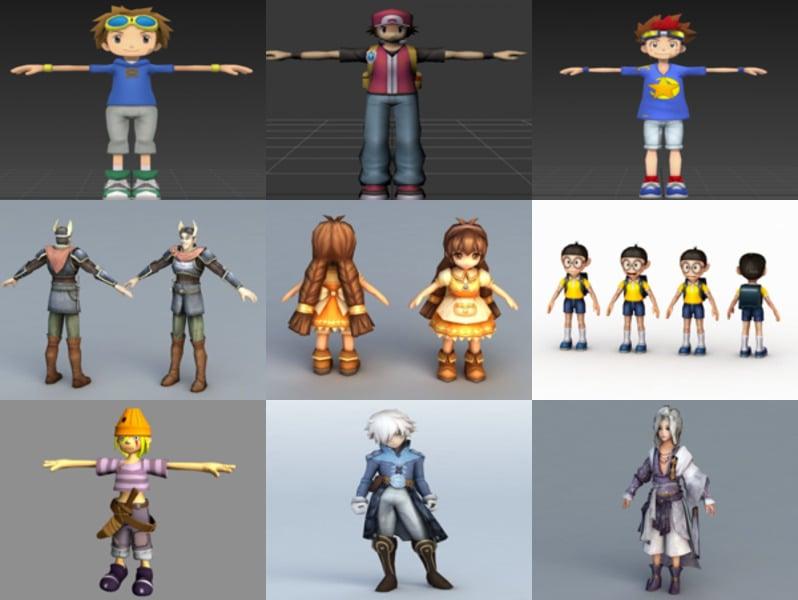 12 personajes de modelos 3D de Anime Boy - Semana 2020-43