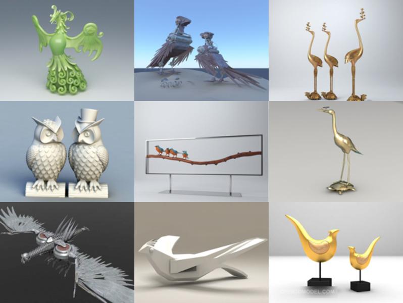12 Bird Sculpture 3D Models Collection – Week 2020-43
