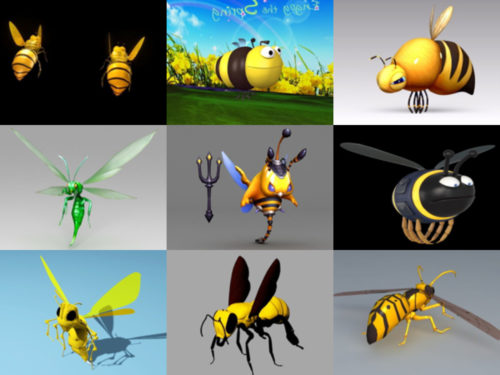 12 Cartoon Bee Free 3D -mallikokoelma