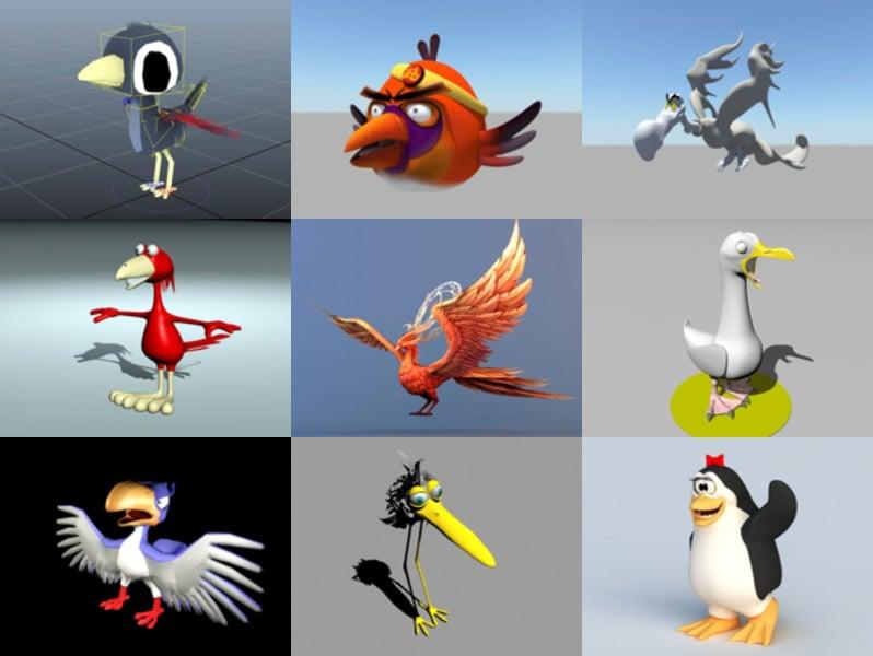 12 Cartoon Bird Animal 3D -mallia - viikko 2020-43