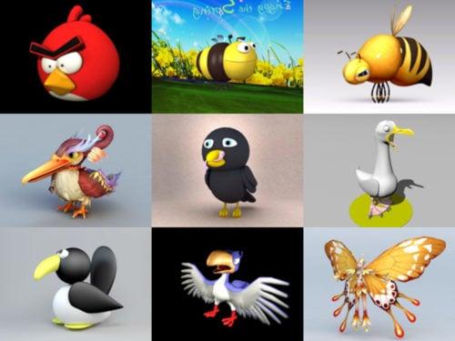 12 modelos 3D sin pájaros de dibujos animados - Semana 2020-41