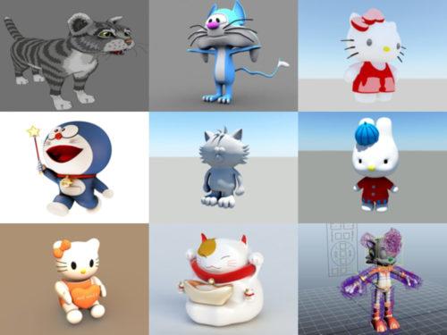 12 modelos 3D gratuitos de gatos de dibujos animados - Semana 2020-41