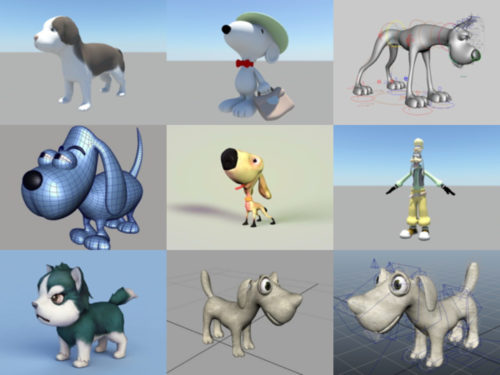 12 Cartoon Dog Free 3D Models Collection