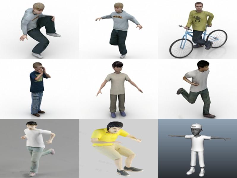 12 Lowpoly Modelos 3D de personajes de niño - Semana 2020-43