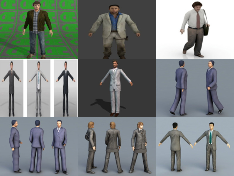 12 Realistic Business Man Free 3D Models – Week 2020-43