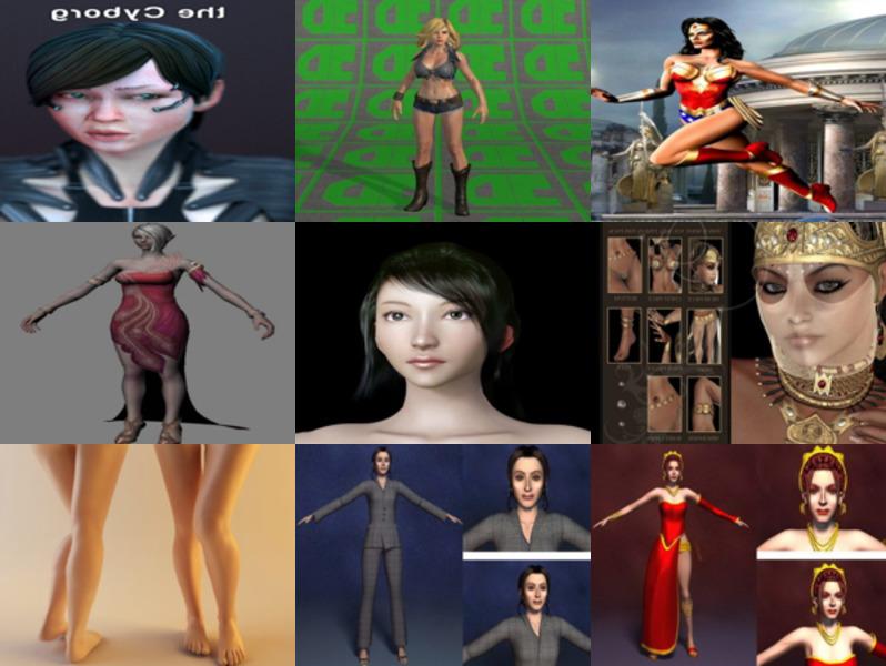 12 personajes de modelos 3D gratuitos de chicas realistas - Semana 2020-43