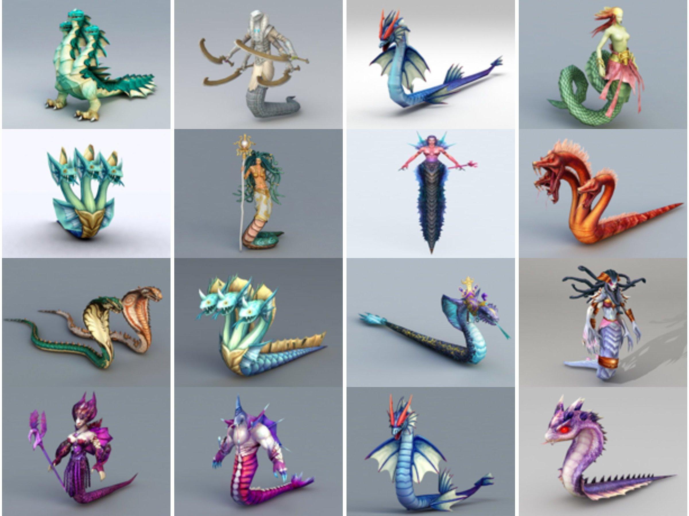 20 modelos 3D gratuitos de personajes del juego de serpientes