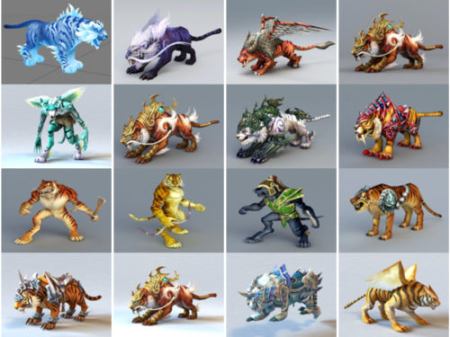 20 Tiger Game Character Free 3D -mallia