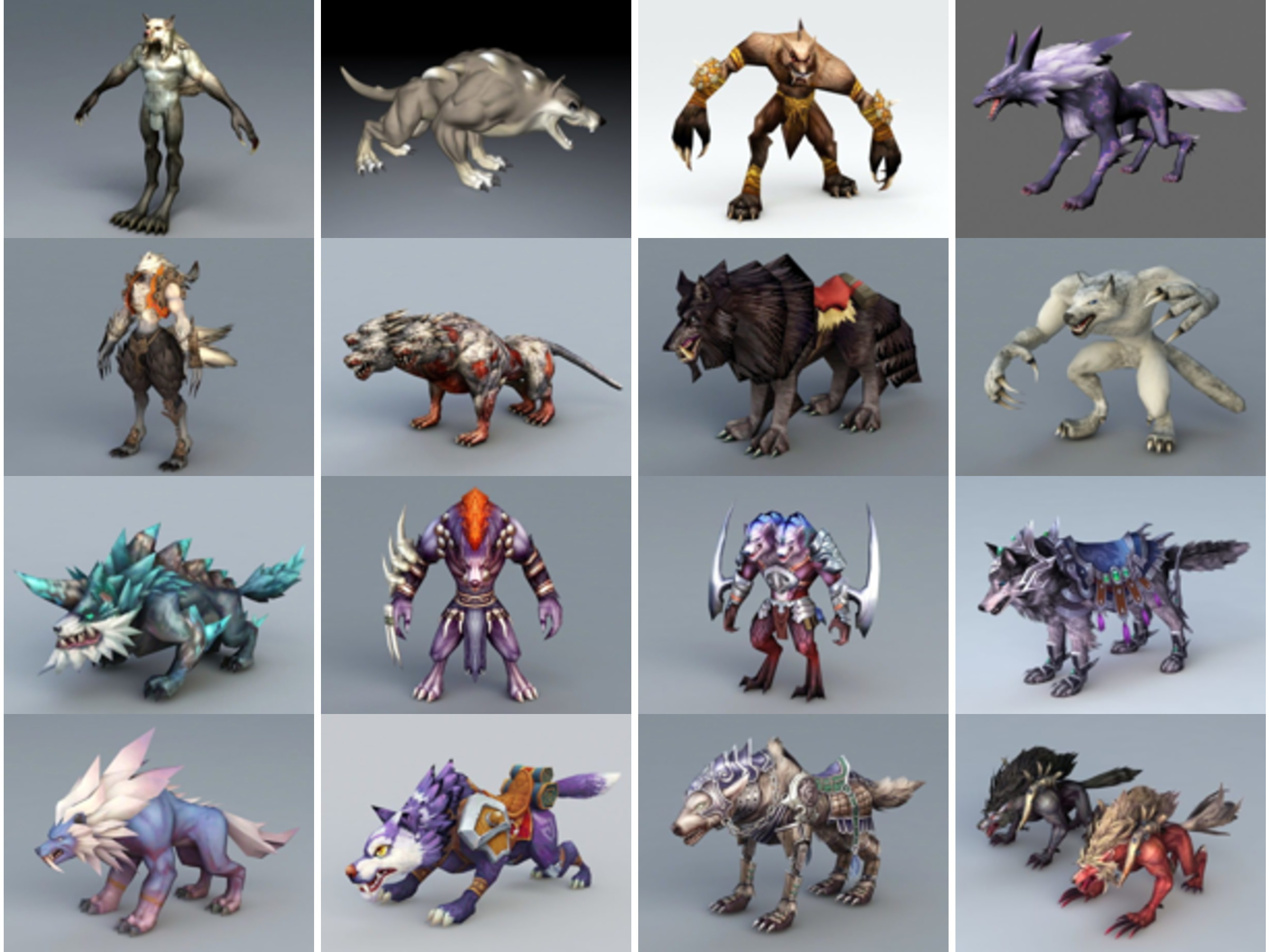 20 Wolf Game Character Free 3D Models Collection