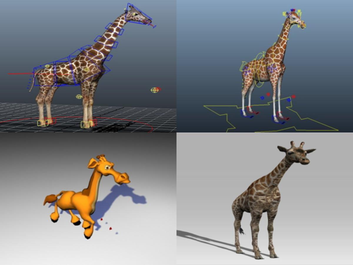 5 Rigged Giraffe Free 3D Models