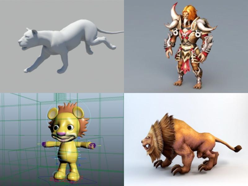 6 Eläinten leijona Rigged 3D-mallit - viikko 2020-43