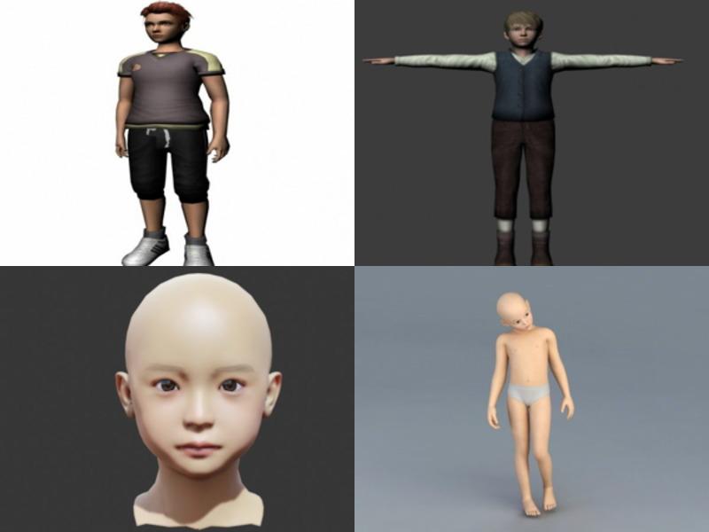 6 modelos 3D sin personajes de niño realista