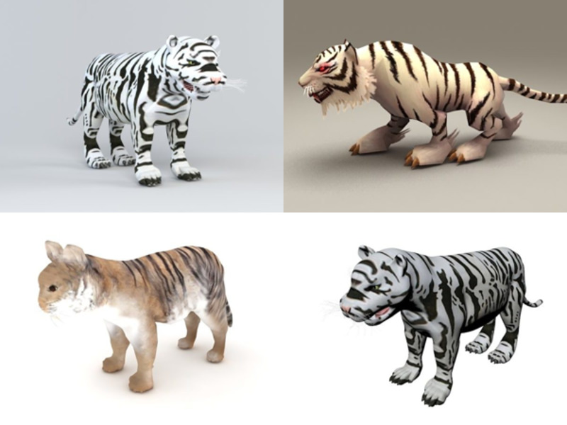 6 White Tiger Free 3D Models – Week 2020-43
