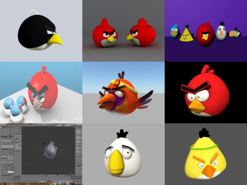 9 Colección de modelos 3D gratis de Angry Bird