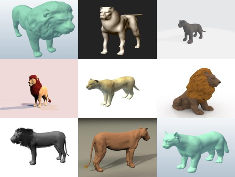9 animales león Lowpoly Modelos 3D - Semana 2020-43
