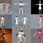 9 Beauty Nurse 3D Models Character Collection