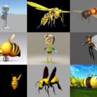 9 Bee 3D Models Collection – Week 2020-44