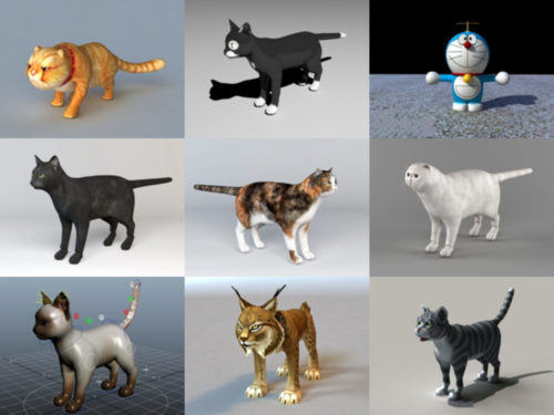 9 Cat Rigged Free 3D Models Collection