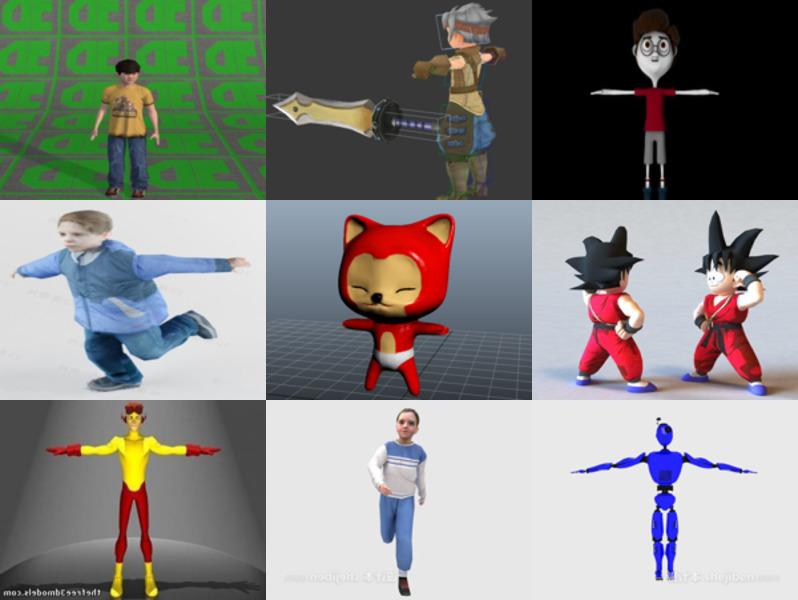 9 مجموعة نماذج ثلاثية الأبعاد خالية من شخصيات الأطفال
