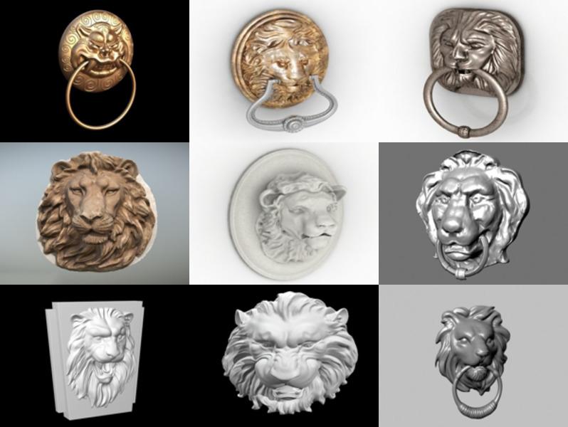 9 modelos 3D de aldaba de puerta con cabeza de león - Semana 2020-43