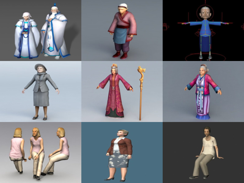 9 Old Woman Free 3D Models Character – Week 2020-43