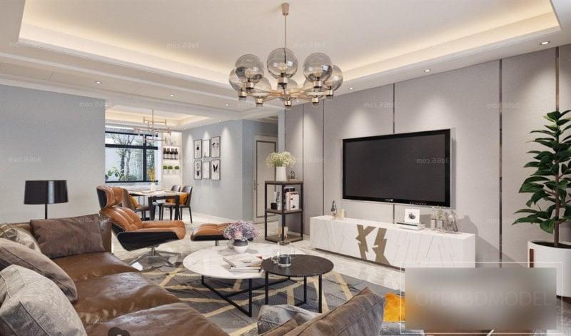 Realistic Living Room Interior Scene