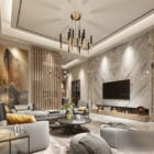 Marble Finished Living Room Modern Interior Scene