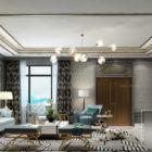 Scena interna del salone grigio di lusso