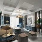 Mid Century Living Room Interior Scene