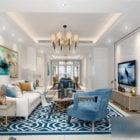 Interiérová scéna Středomořský design Bílý obývací pokoj