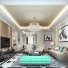 Big Chandelier Modern Living Room Interior Scene