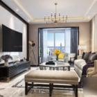 European Living Room Apartment Interior Scene