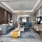 Postmodern Home Living Room Interior Scene