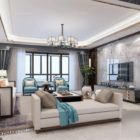 Marble Wall Apartment Large Living Room Interior Scene
