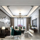 White Living Room Chinese Style Interior Scene