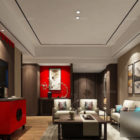 Chinese Style Home Interior Scene Antique Living Room