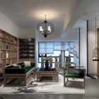 Apartment Interior Scene Wohnzimmer mit Vogelkäfig