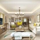 Post Modern Design Of American Living Room Interior Scene