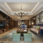 Classic Wooden Cabinet Living Room Interior Scene