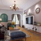 Mediterranean Apartment Living Room Interior Scene