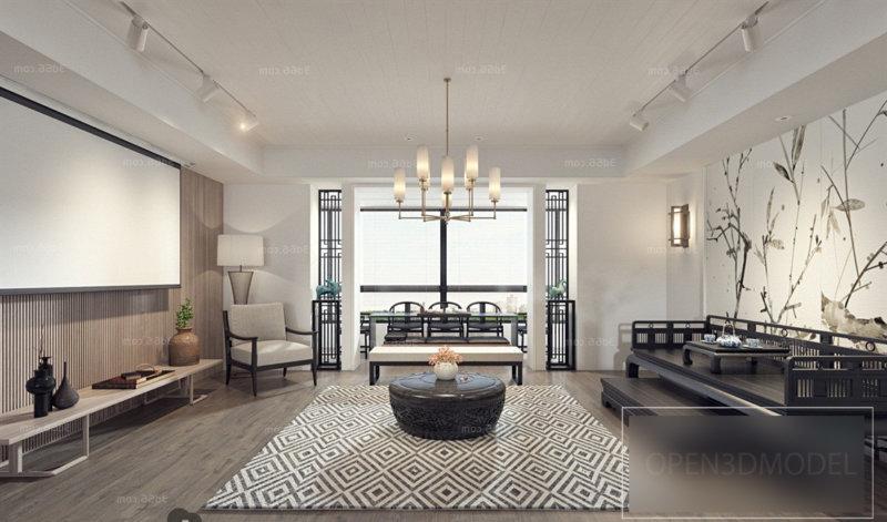 Minimalist Living Room Interior Scene Chinese Style