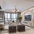 European Living Room Interior Scene Marble Wall