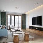 Modern Living Room Wooden Floor Interior Scene