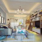 Living Room With Bookcase Interior Scene