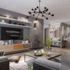 Interior Scene Scandinavian Living Room Grey Wall