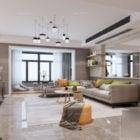 Nordic Apartment Marble Living Room Interior Scene