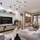 Interior Scene Of Family Living Room Wooden Floor
