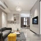 Interior Scene Small Living Room White Color