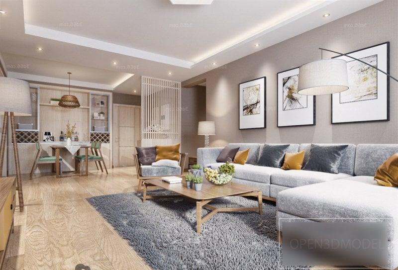 Scandinavian Interior Scene Of Living Room